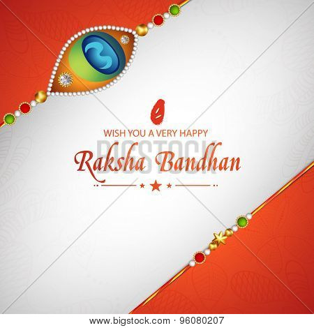 Elegant greeting card design decorated with beautiful creative rakhi for Indian festival of brother and sister love, Happy Raksha Bandhan celebration.