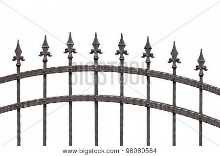 Old fashioned spike fence isolated on white