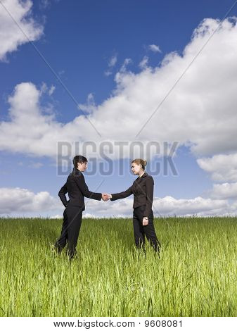 Women shaking hands outdoors