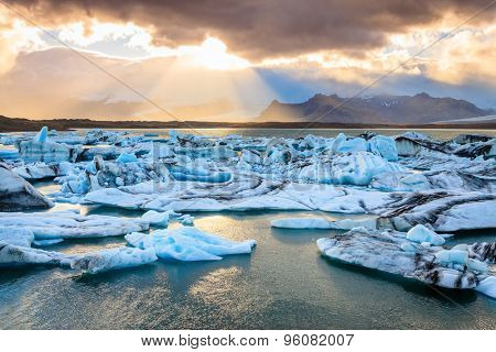 Jokulsarlon Lagoon by the southern coast of Iceland