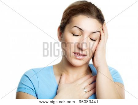 Woman holding hand on head, feeling stress, depression and pain