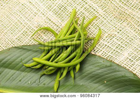 Bunch of fresh green peas placed on a big leaf and rustic hemp fabric