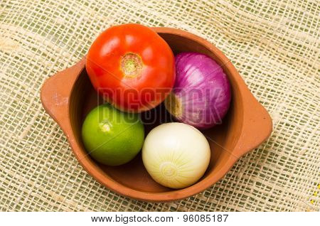brightly colored tomato, onions and lemon in ceramic terracota bowl and hemp textile