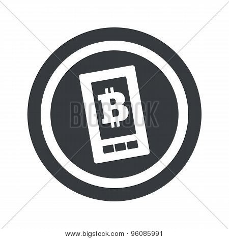 Round black bitcoin screen sign