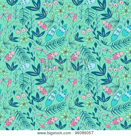 Colorful seamless pattern with forest elements