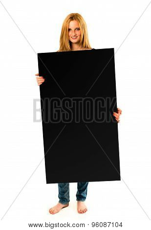 pretty young woman holding a black banner