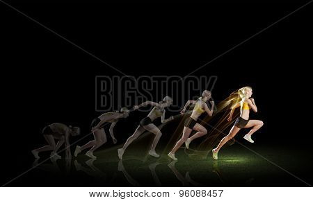 Running woman in sport wear on black background
