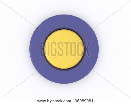 round blue yellow button isolated on white background. 3D icon