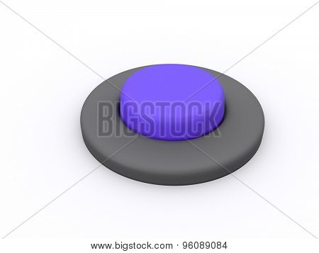round blue button isolated on white background. 3D icon