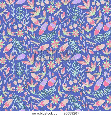 Bright vector floral pattern .
