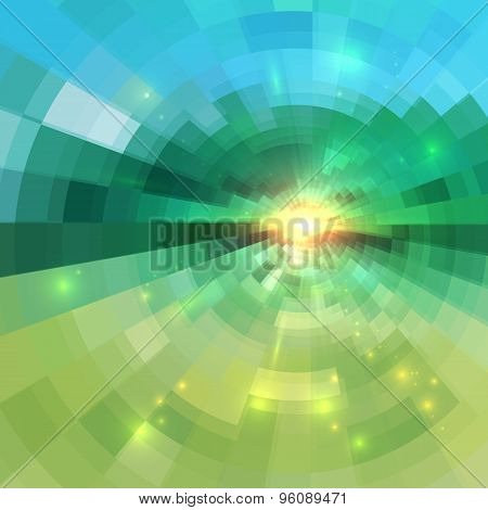 Abstract green technology concentric mosaic background