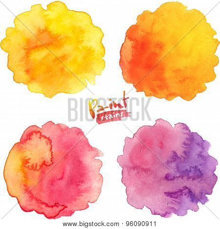 Warm colors vector watercolor splashes set
