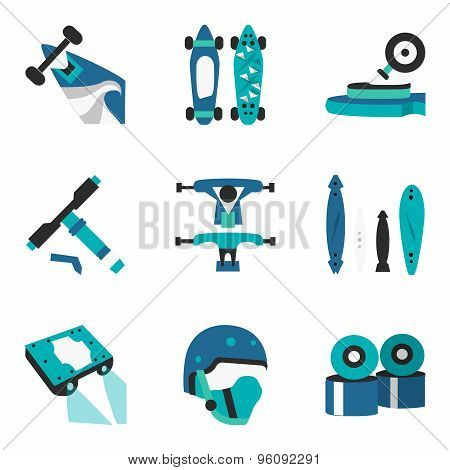 Longboard elements flat color vector icons
