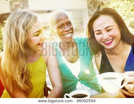 Girls Coffee Break Talking Chilling Concept