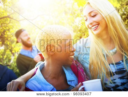 Friends Outdoors Camping Holiday Cheerful Concept
