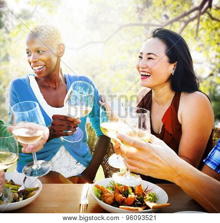 Diversity Femininity Dining Brunch Togetherness Concept