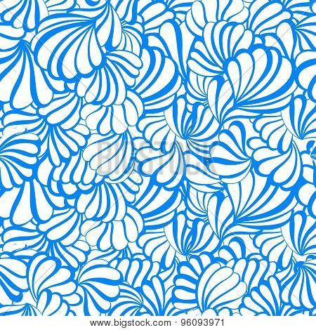 sea shell vector seamless pattern on a white background.