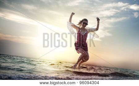 Beach Woman Jumping Summer Holiday Chilling Concept