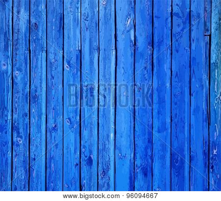 painted old wooden wall. blue background, vector