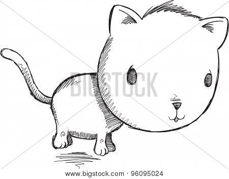 Sketch Doodle Kitty Cat Vector Illustration Art