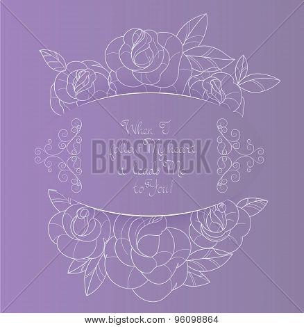 Vintage card roses bouquet romantic quotes