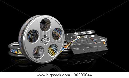 Clapperboard and film reel with pictures isolated on black background