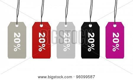 Colorful hanging sales tags with twenty percent discount isolated on white background