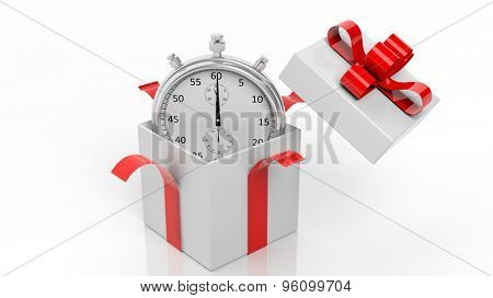 Silver chronometer in a gift box red ribbon, isolated on white