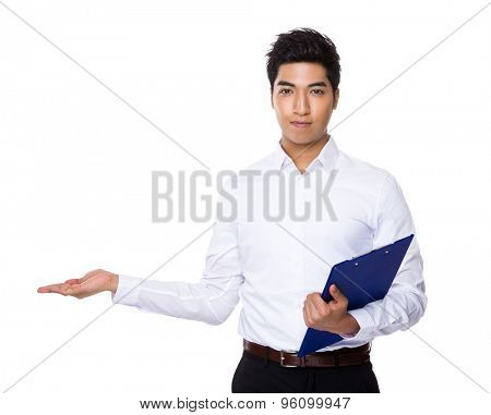 Businessman hold with clipboard and open hand palm