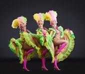 picture of fascinator  - Fascinating female dancers in colorful carnival costumes - JPG