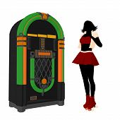 foto of jukebox  - Girl on roller skates standing near a jukebox silhouette on a white background - JPG