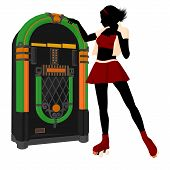picture of jukebox  - Girl on roller skates standing near a jukebox silhouette on a white background - JPG
