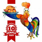 stock photo of roosters  - Cartoon cheerful rooster with grilled chicken on a white background - JPG