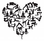 image of pranayama  - A heart shape made from silhouettes in yoga or pilates poses - JPG