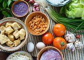 picture of scallion  - Vietnamese food bun rieu a famous dish of Vietnam raw material as tomato crab pork meat shrimp salad scallion egg vegetable shrimp paste bunrieu is Viet Nam special eating - JPG