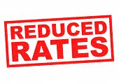 image of reduce  - REDUCED RATES red Rubber Stamp over a white background - JPG