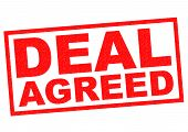 image of bartering  - DEAL AGREED red Rubber Stamp over a white background - JPG