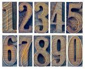 stock photo of zero  - ten numbers from zero to nine in letterpress wood type printing blocks isolated in white - JPG
