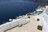 pic of pov  - Beautiful decoration detail in Oia village Santorini island Greece - JPG