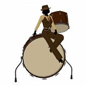 foto of jive  - Female jazz player on drums on a white background - JPG