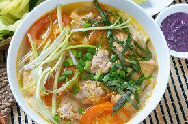 pic of shrimp  - Vietnamese food bun rieu a famous dish of Vietnam raw material as tomato crab pork meat shrimp salad scallion egg vegetable shrimp paste bunrieu is Viet Nam special eating - JPG