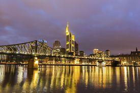 pic of frankfurt am main  - Frankfurt am Main in Germany in the evening - JPG