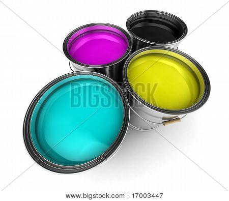 Cmyk Color Paint Buckets