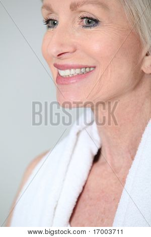 Closeup of senior woman with beautiful smile