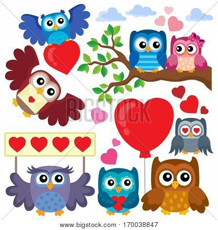 Valentine owls theme collection 1 - eps10 vector illustration.