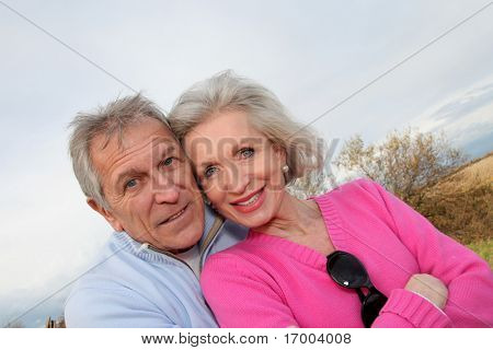 Closeup of happy senior couple