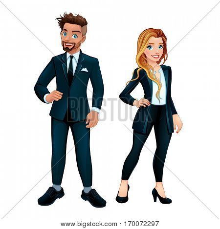 Elegant boy and girl. Vector isolated cartoon characters