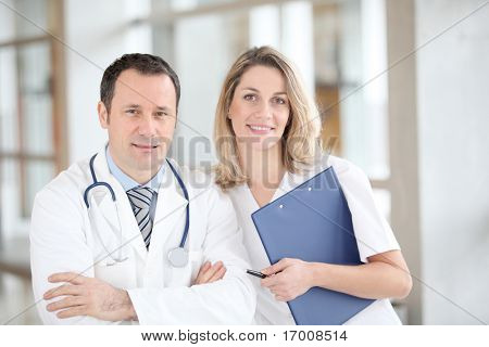 Portrait of medical people standing in hospital