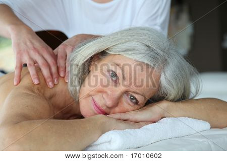 Senior woman having a massage