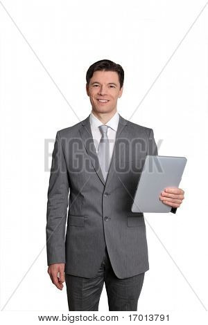 Empresario sobre fondo blanco con tableta electrónica